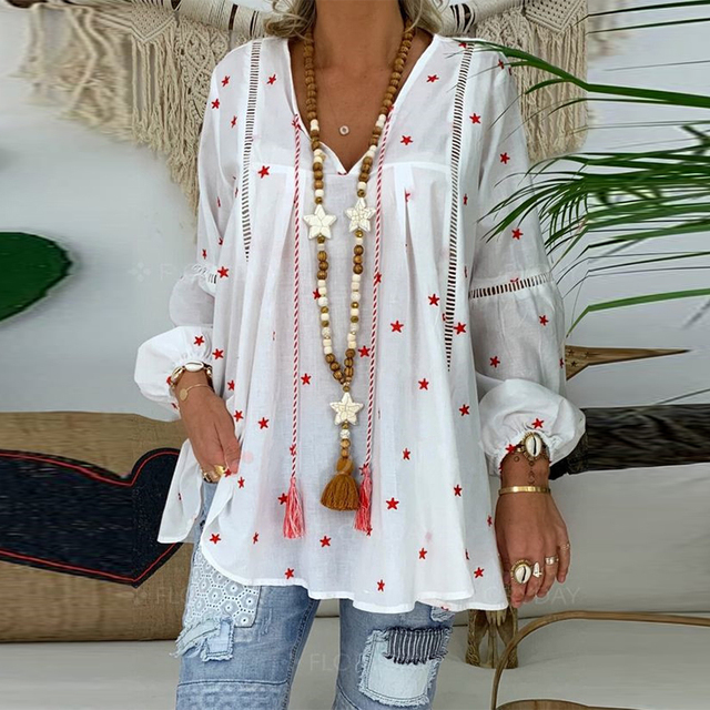 Star Print Plus Size Womens Tops And Blouses Spring Casual Hollow out Long Sleeve Tunic Female V Neck Loose Blouses Shirts