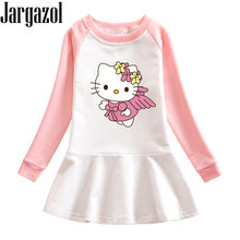 Jargazol Autumn Little Girls Clothing Sweatshirt Dress Cute Cat Princess Costume Party Dress Fall Kids Girl Clothes Vestidos(China)