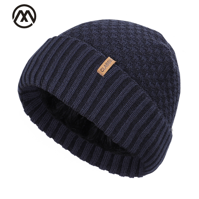 2019 New Cotton Cap Outdoor Warm Winter Knit Hat Men And Women Velvet Thickening Men's Skull Cap High Quality Cotton Men's Peas