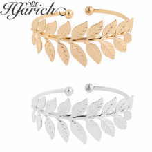 Hfarich Elegant Open Bangles Pulseiras Punk Leaves Cuff Bracelets & for Women Jewelry Girl Mujer Pulseira Female gifts