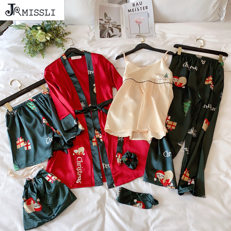 JRMISSLI Womens Silk Pyjamas Set 7 Pieces Set Pajamas Female Autumn Silk Sleepwear Pijama Casual Comfortable Womens Home Wear