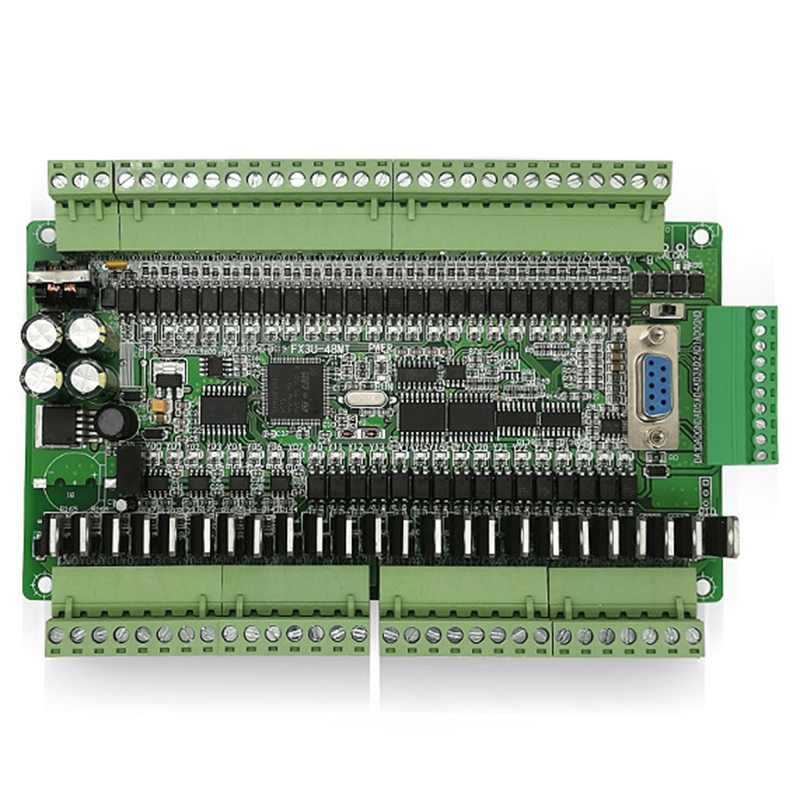 PLC Industrial Control Board FX1N FX2N FX3U 48MT 6AD 2DA 24 Input 24 Transistor Output RS485 RTC CAN Extension with Shell Tool Parts     - title=