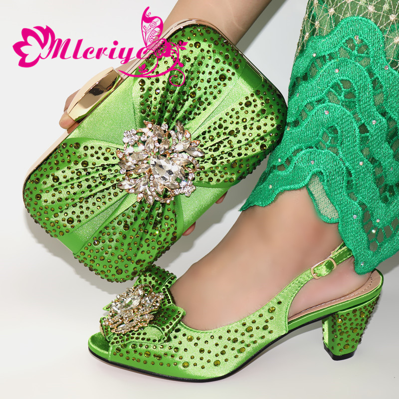 Army Green Italian Shoes With Matching Bags For Wedding Italy Rhinestone Women Shoe And Bag Set Nigerian Women Wedding Shoes Bag
