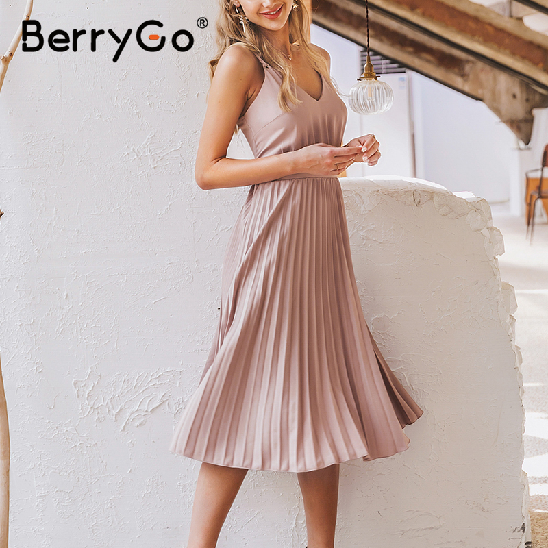 BerryGo Sexy spaghetti strap summer dress women A-line hot pink female pleated midi dress Casual office ladies party dresses 3