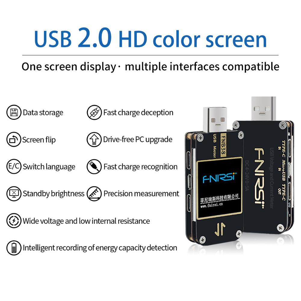 Aletler'ten Voltaj Ölçerler'de FNB38 akım ve gerilim ölçer USB Test cihazı QC4 + PD3.0 2.0 PPS hızlı şarj protokolü kapasite testi title=