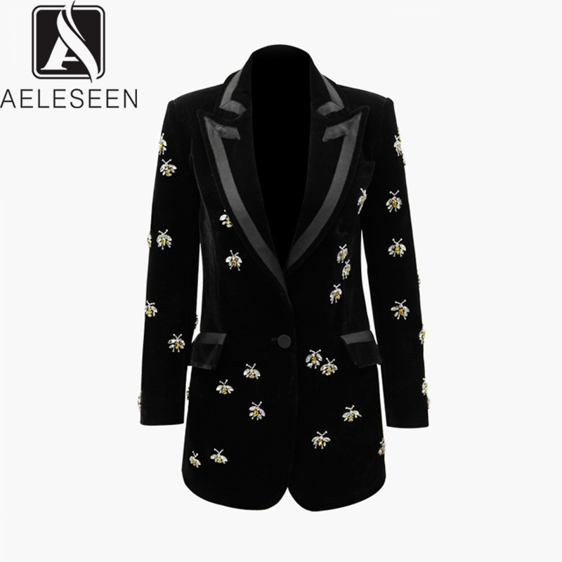 AELESEEN 2020 Spring Office Lady Long Coat Women Luxury Diamonds Bees Shape Buttons Single Buttons European Jacket With Pockets