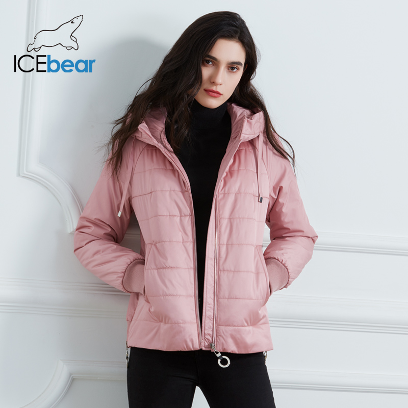 ICEbear 2020 New Women's Spring Coat High Quality Brand Clothing Short Coat with Hat Fashion Woman Clothing GWC20070D