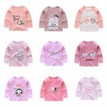 19 новая одежда для малышей детская модная повседневная футболка с длинными рукавами хлопковая одежда с принтом для маленьких мальчиков и девочек