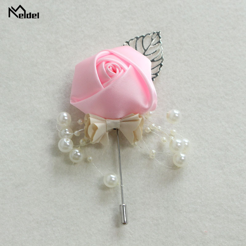 Meldel Dropshipping Boutonniere Men Corsage Groom Boutonniere DIY Wedding Flower Rose Fake Pearl Brooch Party Prom Corsage White