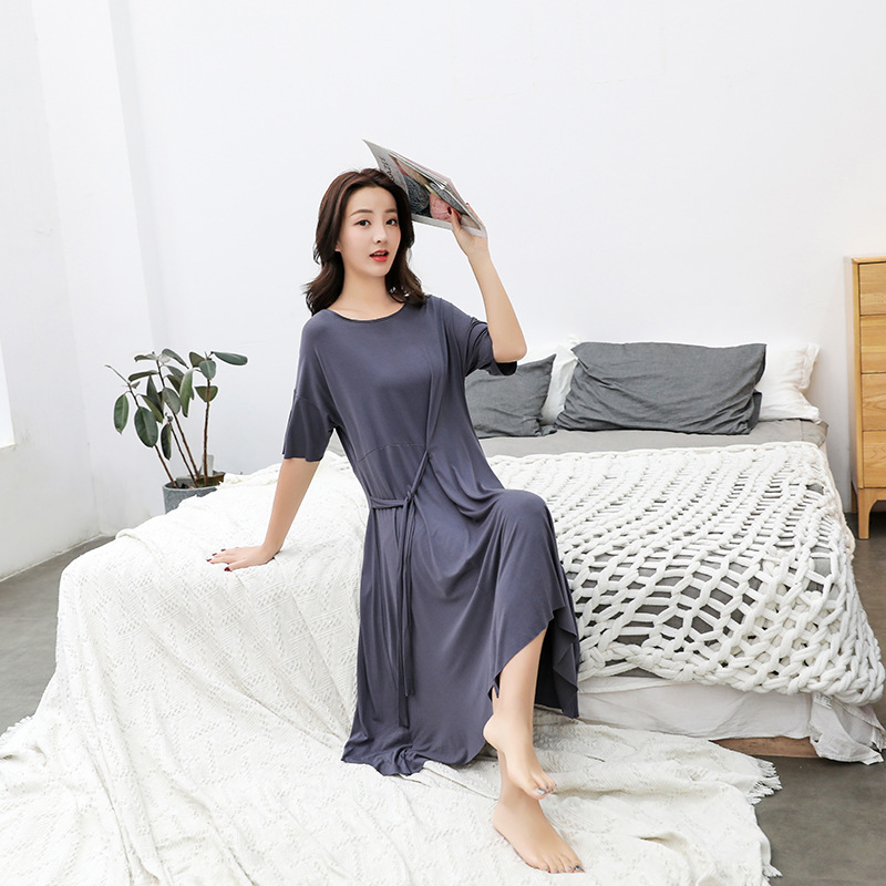 2019 Summer Modal Nightgown Short Sleeve Women's Sexy Pajamas Plus-sized Dress Cotton Tracksuit