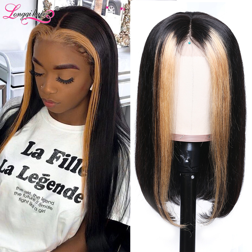 H6d2476dd08f642ebbb36e152d164bffbV Longqi Highlight 27# Bob Lace Front Wigs High Ratio 180% 13x4 Lace Front Human Hair Wigs Remy Brazilian Straight Lace Front Wigs