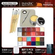 IMAGIC Professionalแต่งหน้าเครื่องสำอาง1 X12สีภาพวาด + ผิวWax + Professional Makeup Removerชุดเครื่องมือ