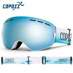 Copozz Merk Professionele Skibril Dubbele Lagen Lens Anti-Fog UV400 Grote Ski Bril Skiën Snowboard Mannen Vrouwen Sneeuw bril