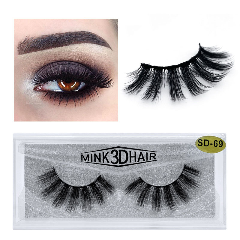 1 <font><b>Pair</b></font> <font><b>10</b></font>-15mm Natual False <font><b>Eyelashes</b></font> 3D Fake Lashes Makeup Thick Mink <font><b>Eyelashes</b></font> 100% Hand Made <font><b>Eyelash</b></font> Wholesale With Box image