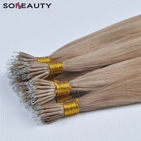 sobeauty Silky Straight Natural Human Hair Extension Nano Tip Hair Extension Remy Pre Bonded Hair Extensions 50strands/pack