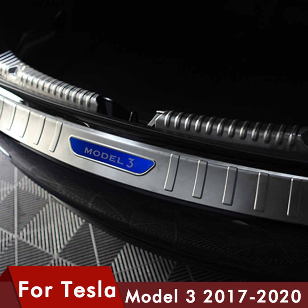 Model3 Car Rear Boot Trunk Bumper Protector Guard Sill Inner Outer Plate Cover Accessories Stainless Steel For Tesla Model 3