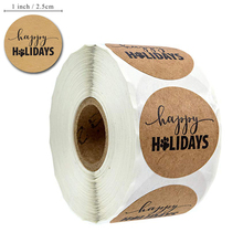 500pcs Happy Holidays Stickers with paw print 1 inch round dog christmas party labels per roll stationery sticker Tags