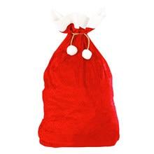 1 قطعة 70x50 سنتيمتر جديد عيد الميلاد كبيرة الحجم الصوف النسيج الرباط هدية الكريسماس أكياس الكلاسيكية الأحمر والأبيض عيد الميلاد أكياس ديكور