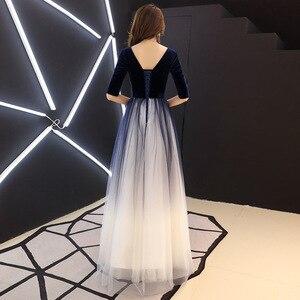 Image 4 - فستان سهرة للمشاهير من Vestidos De Madrinas De Bodas فستان سهرة جديد للولائم لخريف وشتاء طويل سليم سنوي للقاء تنورة صغيرة