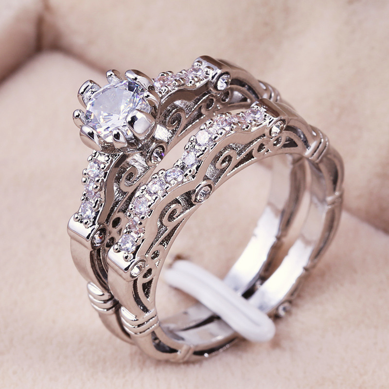 2019 New Arrival Fashion Promise Love <font><b>Couple</b></font> <font><b>Rings</b></font> <font><b>Set</b></font> Luxury Wedding Band Stacking Metal Silver Color Engagement <font><b>Rings</b></font> Jewelry image