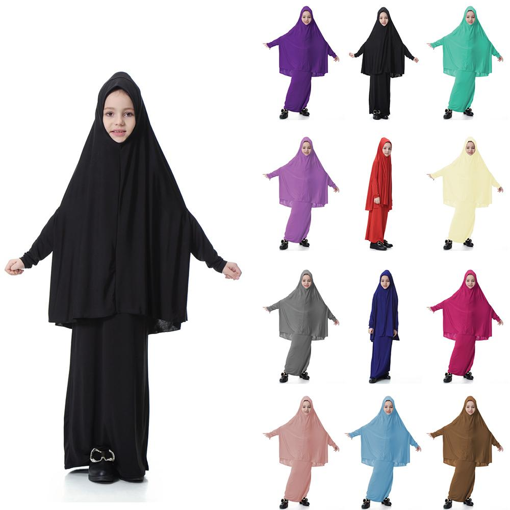 2 Pcs Muslim Kids Girls Arab Kaftan Dubai Prayer Robe Islamic Abaya Hijab Big Scarf + Skirt Burka Clothing Suit Ramadan Fashion