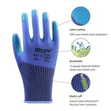 Household Gloves Mechanical Construction Anti-Slip GMG Eco-Latex Garden 3-Pairs Blue