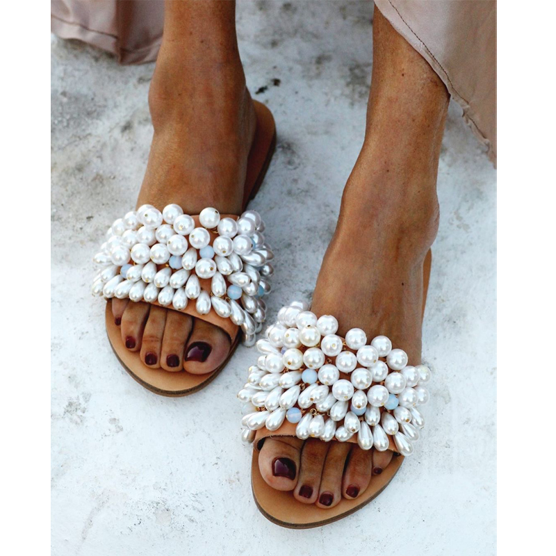 Summer 2020 New Women Slippers Flat Casual Sandals Pearl Decoration Outdoor Women Shoes Plus Size 35-43