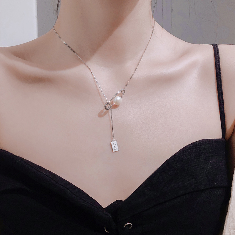s925 sterling silver jewelry pin necklace with tide pearl clavicle chain simple necklace for female gifts wholesale