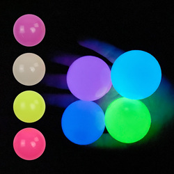 4 Pcs Luminous Wall Target Ball Sucker Sticky Decompression Toys for Kid Teen Adult Colorful TPR Toy Balls Color Random 4 Size
