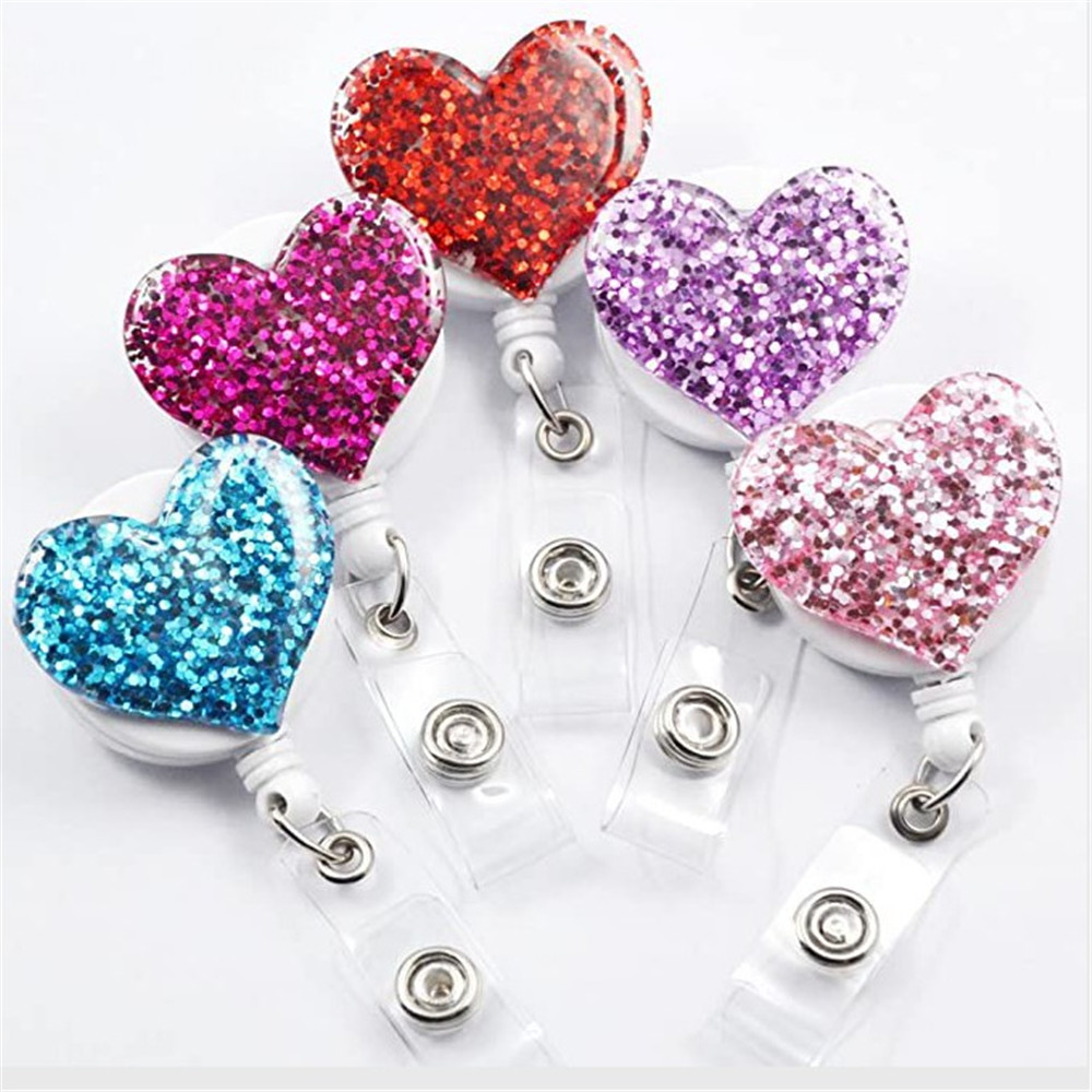 1pc Love Heart Glitter Sequins Badge Reel Retractable Badge Holder Nurse Doctor ID Card Holder Pull Key Chain Office Supplies