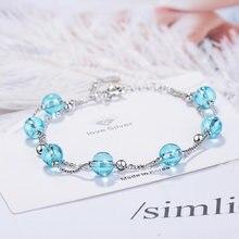 Роскошные женские серебряные браслеты ювелирные изделия подвески