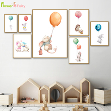 Cartoon Watercolor Rabbit Wall Art Canvas Painting Baby Girl Room Decor Nordic Poster Wall Pictures For Living Room Unframed цена и фото