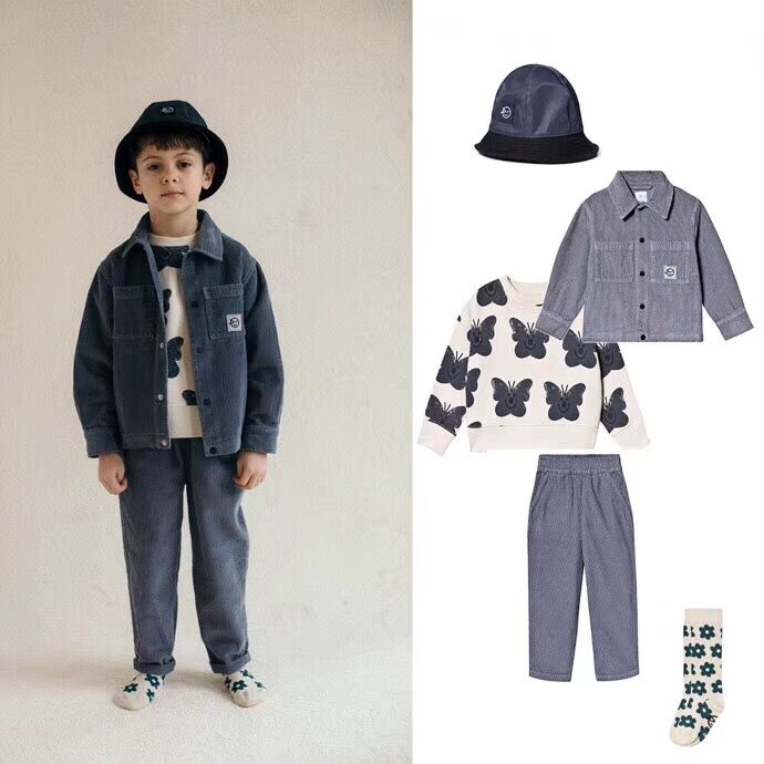 Kids Clothes Set 2021 Wynken New Autumn Winter Boys Girls Dresses T-shirts Flower Print Sweatshirts Baby Pants Fashion Outwear 3