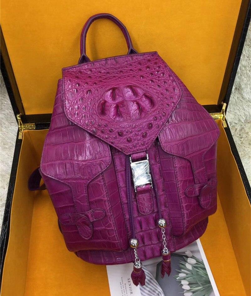 CHIC Design Genuine Crocodile Skin Drawstring Closure Lady Large Casual Bag Pack Exotic Alligator Leather Women Travel Backpack