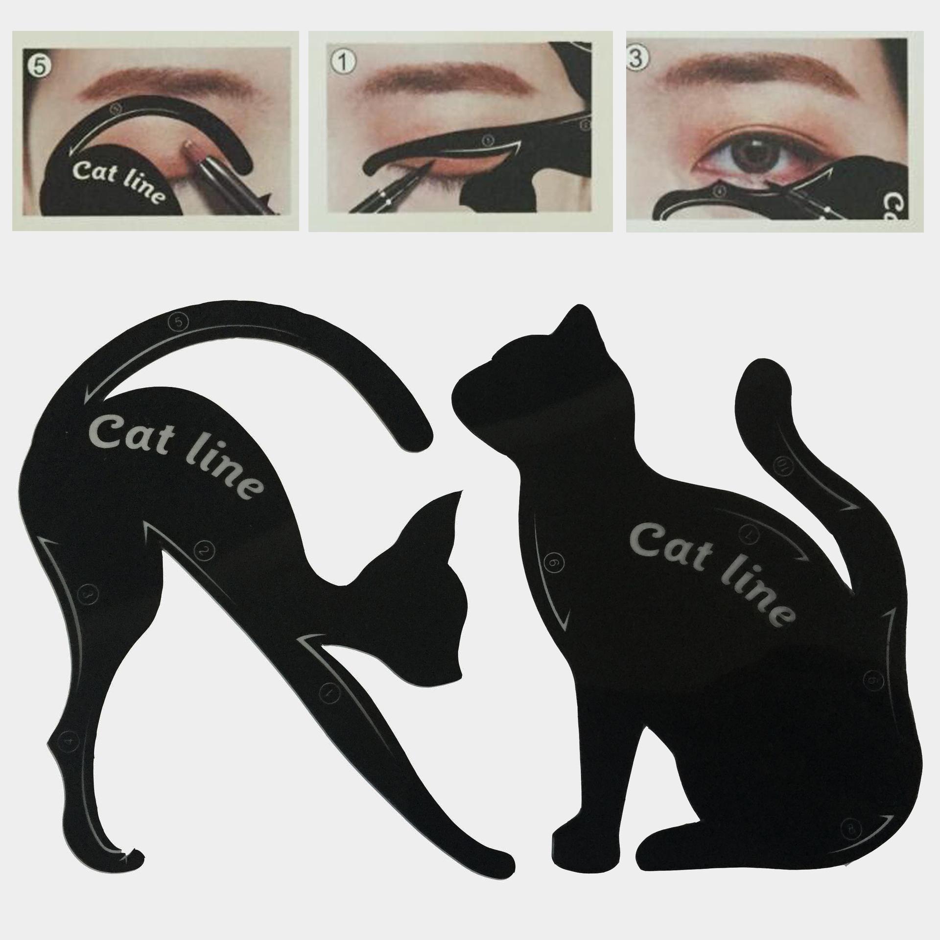 Beauty Eyebrow mold Stencils 2Pcs/Lot Women Cat Line Pro Eye Makeup Tool Eyeliner Stencils Template Shaper Model for women
