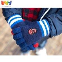 Детские перчатки из Южной Кореи, детские вязаные перчатки с изображением Человека-паука Marvel, вязаные перчатки с сенсорным экраном для мальчиков, зимние теплые Висячие рукавицы с веревкой