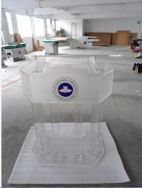 Free Shipping Acrylic Podium With Matte Surface Tubes, Custom Podium Church Size Logo Customize