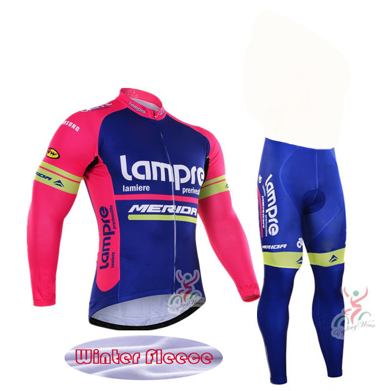 Winter Thermal Fleece Lampre Team cycling Ciclismo long sleeve Breathable Cycling jersey clothes MTB Bicycle clothing in Cycling Sets from Sports Entertainment