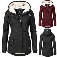 Winter Women Jacket Down Coat Thermal Fleece Plus Size M 3Xl Hood Lady Coat Parka Warm Hoodie Jacket Overcoat Female Down Jacket