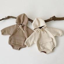 Утепленный комбинезон для маленьких девочек и мальчиков, Модный зимний комбинезон с длинными рукавами для маленьких девочек 0-3 лет