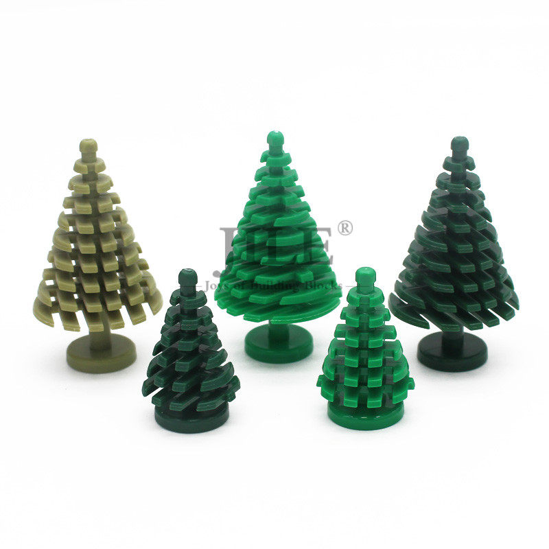 Moc Plant Tree Pine Large 4x4x6 3471 Small 2x2x4  2435 DIY Enlighten Building Blocks Compatible With Assembles Particles