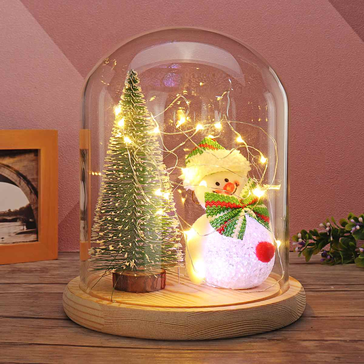 New Snowman Christmas Tree Glass Dome LED Night Light Bell Jar Display Fairy LED String Light Christmas Party Holiday Home Decor