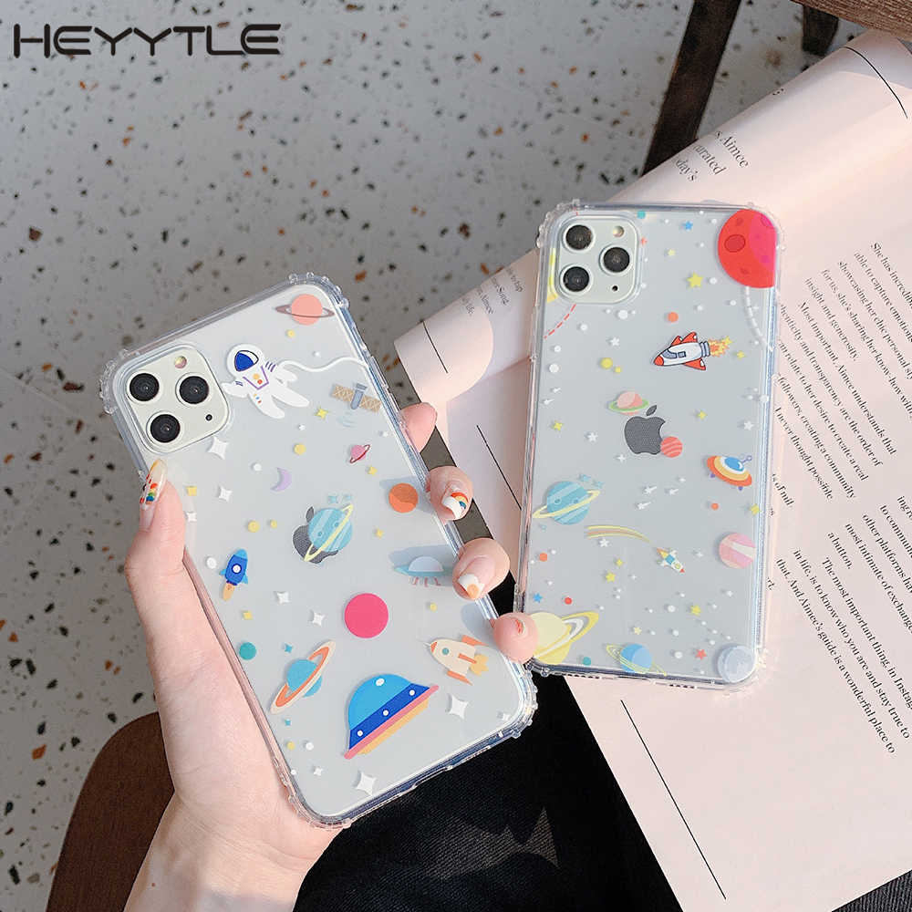 Heyytle Transparan Silikon Case untuk iPhone 11 Pro Max X XR X Epoxy Case untuk iPhone 7 8 6 6 S Plus Planet Bintang Back Cover Coque