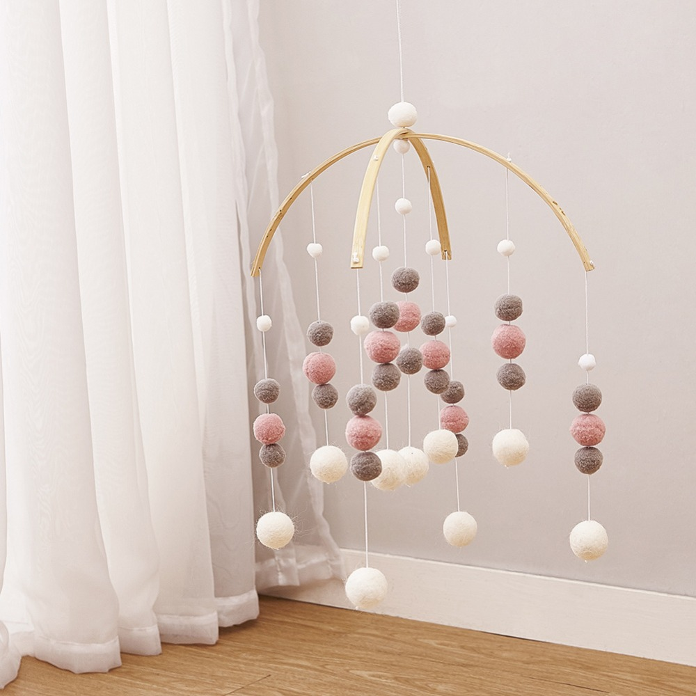 50cm*30cm DIY Macaron Color Hair Ball Decor Banner Baby Room Decoration Bedding Bumpers Kids Party Balls Kids Girls Room Decor