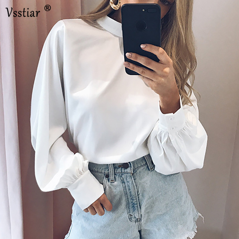 Vsstiar Long Sleeve Satin Blouse And Tops Plus Size Turtleneck Casual Green White Black Office Work Silk Blouse Shirt