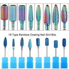 Fresas de carburo de tungsteno para uñas, limas para manicura y pedicura, GLXDS1-18 de herramientas, color azul, arco iris