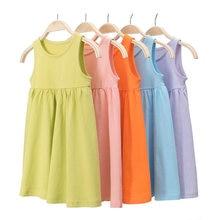 Летние хлопковые платья для маленьких девочек; Детская одежда;