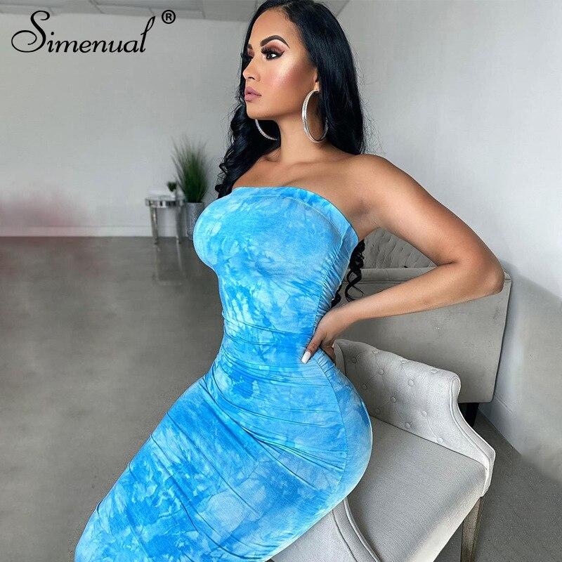 Simenual Tie Dye Ruched Strapless Maxi Dresses Women 2020 Summer Fashion Skinny Bodycon Clubwear Sexy Hot Party Dress Wrap Chest