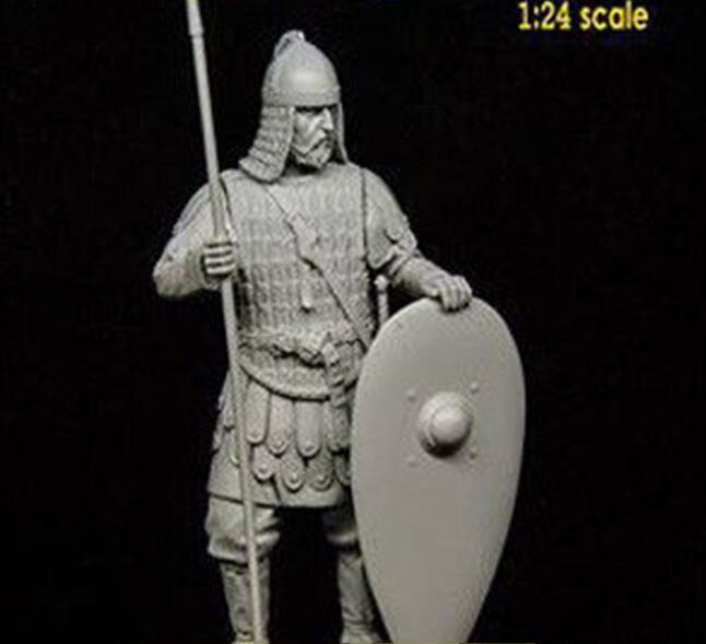 1/24 75mm Ancient WARRIOR Stand With BASE   Resin Figure Model Kits Miniature Gk Unassembly Unpainted