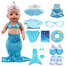 Doll Aqua Blue Series Disned Elsa Dress Mermaid Swimsuit Tablet PC Shoes for 18-inch American 43cm Baby Newborn Doll Girl Toy(China)